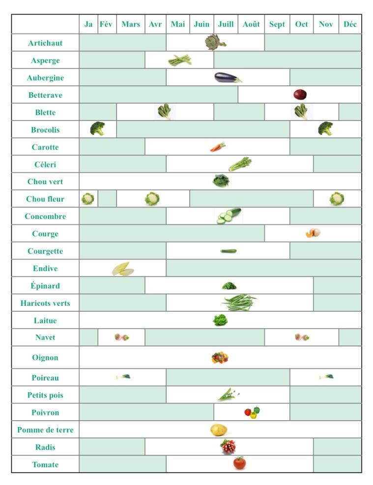 Calendrier de saison des l gumes for Technologie cuisine bac pro